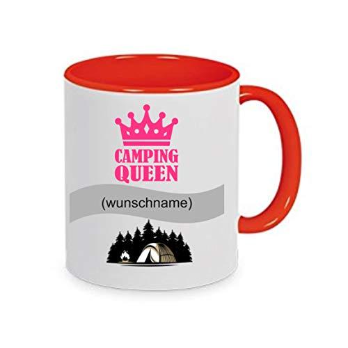 Crealuxe Tasse m. Wunschname Camping - Queen (Wunschname) - Kaffeetasse mit Motiv, Bedruckte Tasse mit Sprüchen oder Bildern