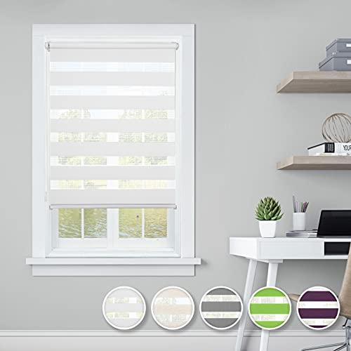i@HOME Doppelrollo klemmfix ohne Bohren (60 x 130 cm), Rollos für Fenster & Türen Duo Rollo ohne Bohren Thermorollo Fensterrollo Seitenzugrollo für Sichtschutz & Sonnenschutz (Weiß, 60 x 130 cm)