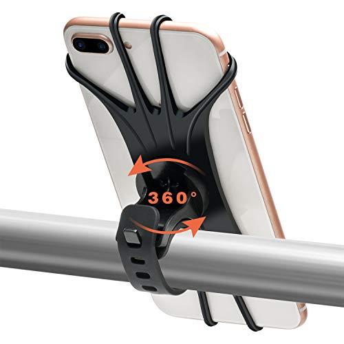 Handyhalterung Fahrrad für iPhone,Universal Silikon Verstellbarer Handyhalter für Fahrrad Motorrad, 360° Rotation, for 11 Pro Max/XS Max/XR/8/7 Plus/6s, Samsung Galaxy usw. 4,0-6,5 Zoll Telefone,