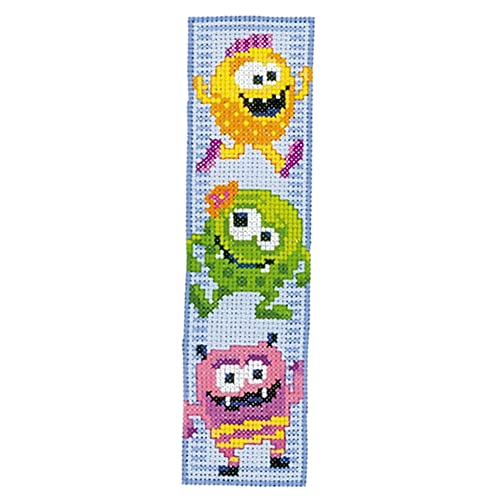 Yellow Cartoon Cross Stitch Set 14CT Counted DIY Embroidery Bookmark Craft
