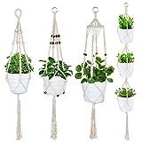 Juego de 4 cestas colgantes de macramé con cuerda de algodón para colgar en el interior y exterior, el techo, el balcón o la decoración de la pared
