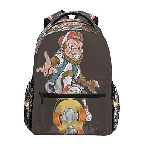 Laptop Backpack Boys Grils - Skateboard Monkey Pop Punk School Bookbags Computer Daypack for Travel Hiking Camping