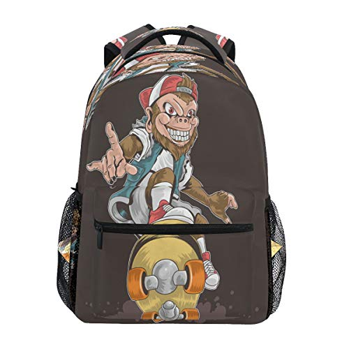 Laptop Backpack Boys Grils - Skateboard Monkey Pop Punk School Bookbags Computer Daypack for Travel Hiking Camping
