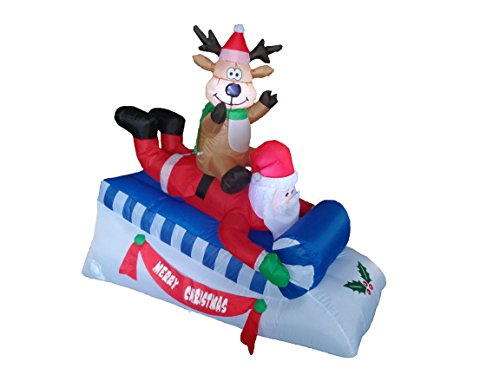 BZB Goods 5 Foot Long Lighted Christmas Inflatable Santa Claus and Reindeer Yard Decoration