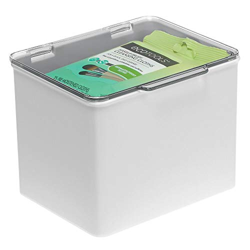 mDesign Caja organizadora de plástico – Cajas apilables con tapa para guardar medicinas o suplementos alimenticios – Organizador de medicinas, ideal como botiquín – gris claro y transparente
