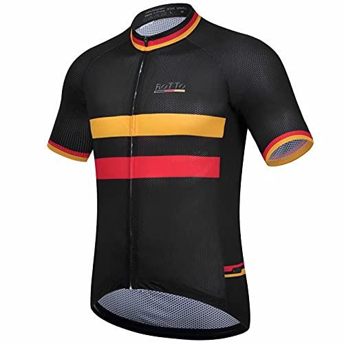ROTTO Maillot Ciclismo Hombre Camiseta Ciclismo Manga Corta con Bolsillo Serie de la Bandera Nacional