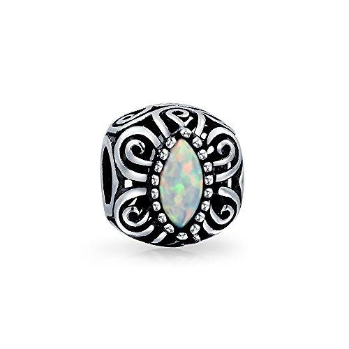 Vintage Stil Opal Bali Blättern Milgrain Charm Bead Für Damen Sterling Silber Passt Europäischen Armband Erstellt
