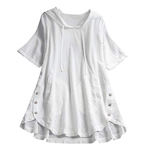 QIMANZI Übergröße Damen Lange Ärmel Kaftan Ausgebeult Taste Bettwäsche aus BaumwolleTunika Bluse(Weiß,XL)