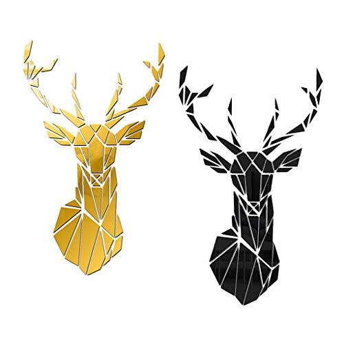 Bonarty 2 Piezas Extraíbles Ciervos Espejo Azulejos Pegatinas de Pared Calcomanías Artísticas Decoraciones de Pared
