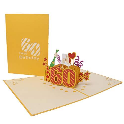 Favour Pop Up Carte d'anniversaire 60 ans - Doré - 13 x 18 cm