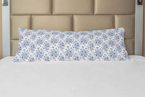 ABAKUHAUS anemoon Hoes voor Ligzak met Rits, Blue Floral Corsage, Decoratieve Lange Kussensloop, 53 x 137 cm, Night Blue White