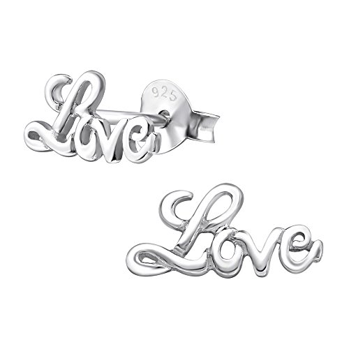 Laimons Pendientes para mujer Love Brillante Plata de ley 925