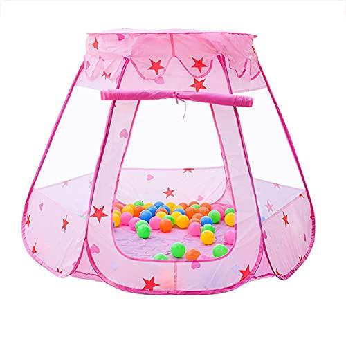 Ocean Ball Pit Pool, color rosa plegable plegable tienda de campaña para bebés, casa de hadas, tienda de campaña para juegos de princesa, para niños, niñas y niños al aire libre e interior