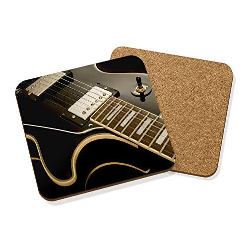 Gift Base Gitarre Liegend Getränke Untersetzer Matte Kork Quadratisch Set X4