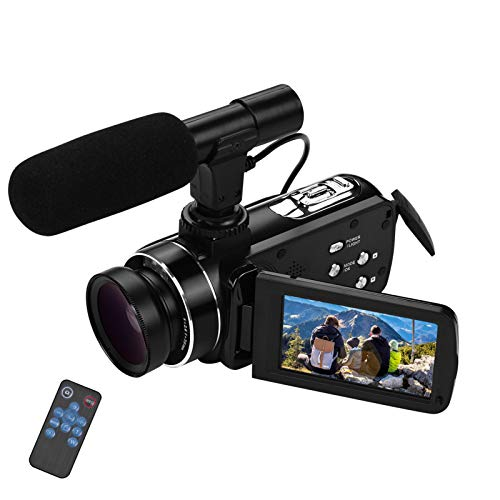 Andoer 4K Ultra HD Handheld DV Professional Digitale Videokamera CMOS-Sensor-Camcorder mit 0,45-fachem Weitwinkelobjektiv und Makro-Stereo-On-Camera-Mikrofon Hot Shoe Mount Anti-Shaking-Funktion