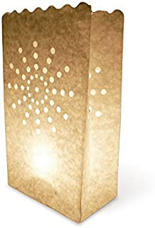 20 pcs White Luminary Bags, Candle Bag with Sunburst Design, Durable and Reusable Fire-Retardant Cotton Material Paper Lantern Bags for Wedding Valentine Reception Engagement Marriage Proposal Event