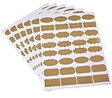 6 hojas de papel Kraft de forma surtida, autoadhesivas, etiquetas de código de botella de aceite esencial, frascos de muestra, etiquetas adhesivas para organizar la identificación