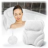 SIVED Badewannenkissen, PU-Badkissen mit Saugnäpfen, Ermüdungsschutz für Kopf, Schultern und Rücken, Verschiedene Badewannen