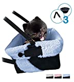 Blue and Black Cozy Boost with Clip On Leash- Premium Quality Dog Booster Seat and Collapsible Dish for Small Dogs, Puppies, and Pets Up to 20 lbs