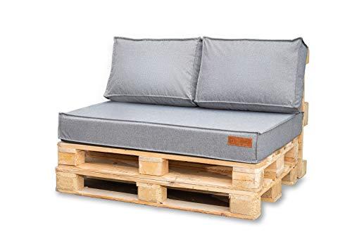 Blomster Palettenkissen Set 120 x 80 cm für Palettensofa - Wasserdicht Outdoor Sitzkissen mit UV-Schutz - Paletten Polster für Palettenmöbel in Farbe Grau