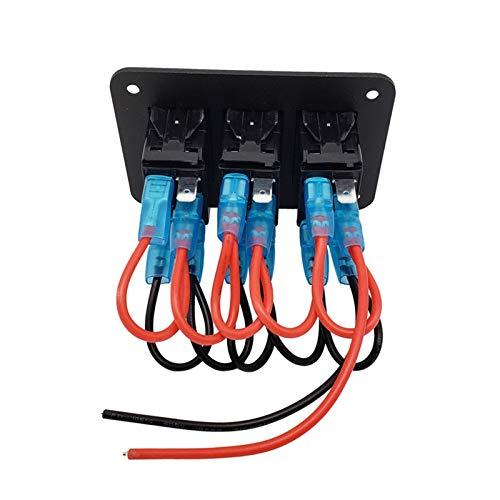 JIAQING Panel de Interruptor de balancín de Barco Marino 12V Impermeable a Prueba de Agua interruptores de Palanca Azul LED Interruptor de luz Ajuste para Barco Auto Caravana Marina