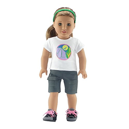 Emily Rose 18 Inch Doll Clothes for Journey Girl | 18' Doll Brownie Girl Scout Camping Outfit | Hiking Boots Included! | Fits American Girl Dolls and Our Generation | Gift Boxed!