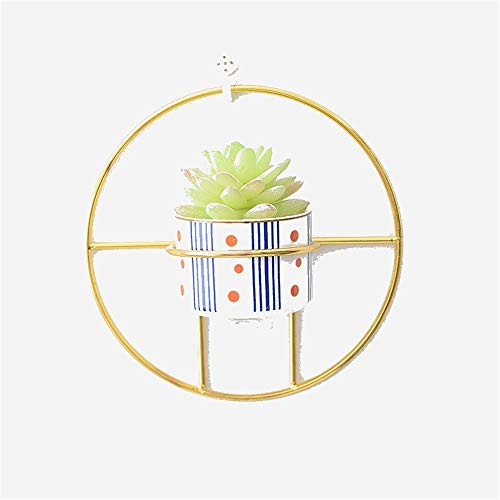Hängende Wand vertraglich kreisförmige einfache Metallwand hängende Blume implementieren Neue Geldanlage Hydroponik-Blumentopf-Keramik Wandbehang (Farbe : A)