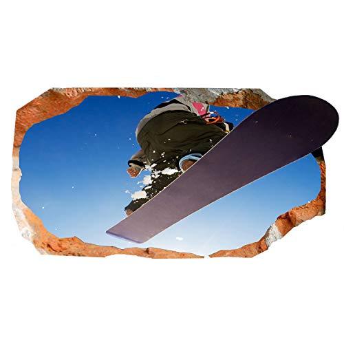 Mural Wall Art Startonight 3D Photo D_cor Snowboard Geweldig Dual View Surprise Grote 82 x 150 cm Muurbehang voor Woonkamer of Slaapkamer Sport Collectie Muurkunst