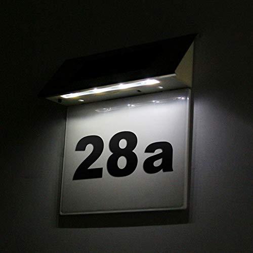 Jvayongmen LED Solarhausnummer Edelstahl Solar Hausnummernleuchte LED Beleuchtete Hausnummer mit Dämmerungsschalter,KW19611025