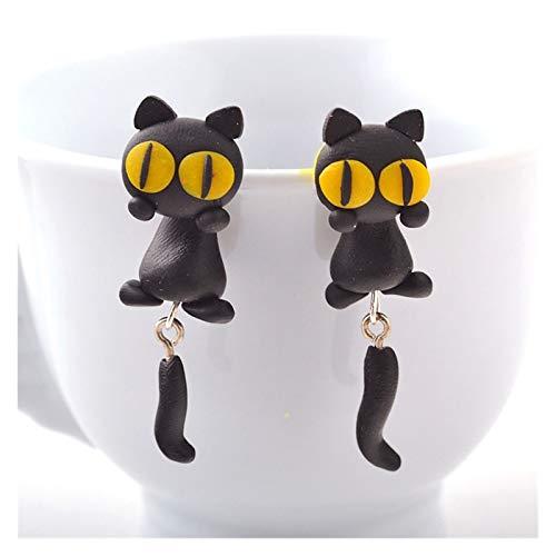 CHENGTAO Hecho A Mano De Dibujos Animados 3D Pendientes De Arcilla Animal Pendientes De Gato para Mujer Joyería (Metal Color : 2)