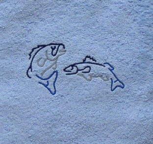 Sauna Handdoek met Borduurwerk Vissen