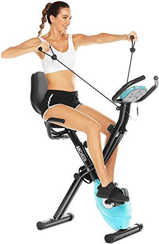 ANCHEER Bicicleta Estatica Bicicleta de Ejercicio Plegable de Interior con Bandas de Resistencia de Brazo y Monitor de Corazón – Perfecto Máquina de Ejercicio en Casa para Cardio Color Negro