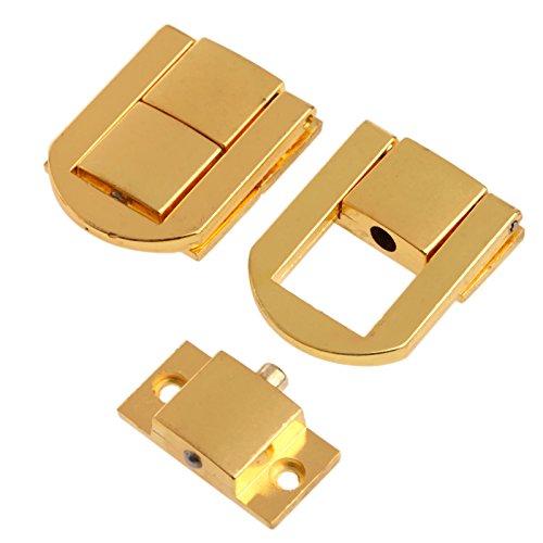 5Pcs 1.18'x 0.94' Cierre de cerradura de cerrojo de oro con tornillos para caja de joyería para la Decoración de maleta, dorado