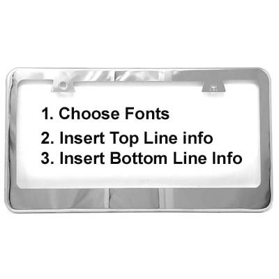 JR2 Customized Stainless Steel License Plate Frame Laser Engraved with Free Cap and Screw-Best Gift (Mirror Chrome)