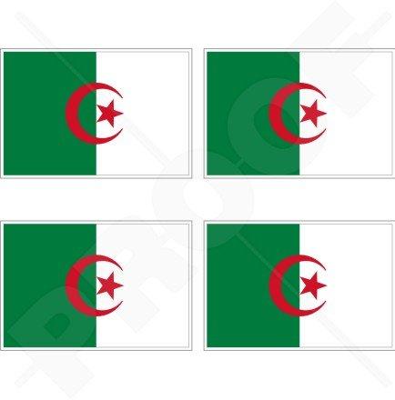 Algerien Algier Algerische Flagge 5,1cm (50mm) Vinyl bumper-helmet Sticker, Aufkleber X4