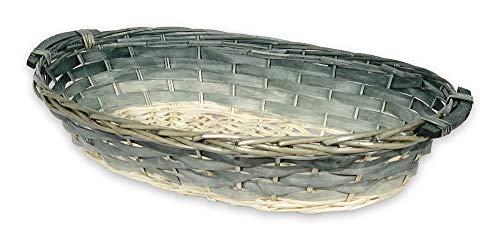 DISRAELI Cesto Natalizio da Confezione in Vimini con Manici, Bianco e Verde 67/60X42XH12.5 Cm