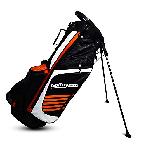 Golfoy Basics Delta II 14-Way Lightweight Golf Stand Bag - (Black/White/Orange)
