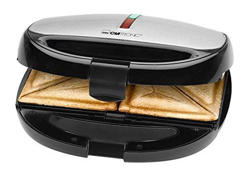 Clatronic ST/WA 3670 Sandwichera 3 en 1, placas intercambiables, Sandwich tostadora, Gofrera gofres belgas, Grill Plancha para carne y pescados 800 W, Negro-inox