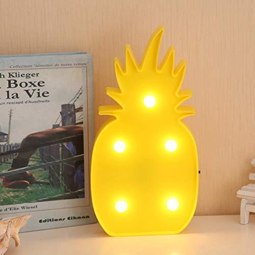 XHSHLID Gele ananas wandlampen LED Nachtlampje Voor Kinderen Kamers Batterij Power Nachttafel Kunststof Lamp Party Licht Decoratie Lamp