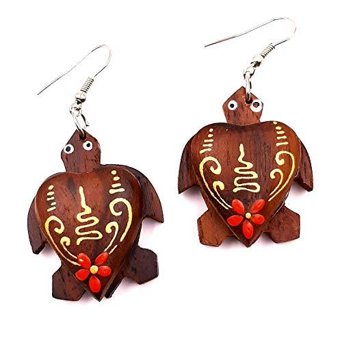 Bali PAPAYA - Pendientes de madera artesanal étnica tortuga flor roja