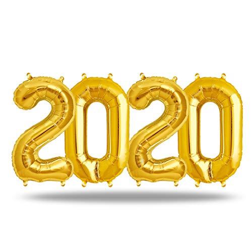 FUNXGO XXL Folienballon Zahl [ca.100cm], DeaGO Gold Luftballon Zahlen für Geburtstag Jubiläum & Party Geschenk partydeko Folienballon Zahlen Luftballons Happy Birthday (Gold [2020])