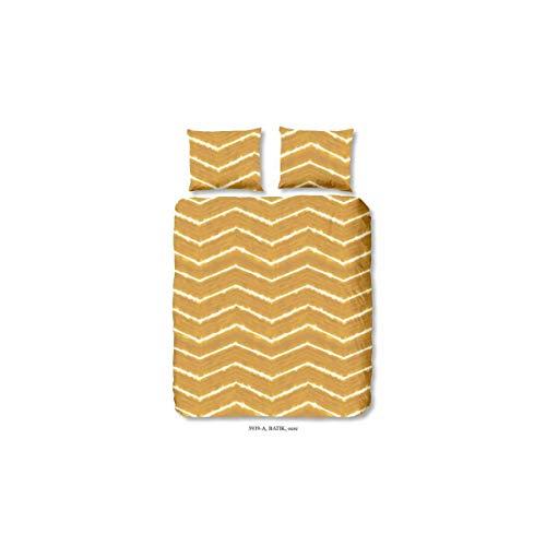 Good Morning Parure de Couette Batik 100% Coton - 1 Housse de Couette 200x200 cm et 2 taies d'oreiller 60x70 cm - Jaune Ocre