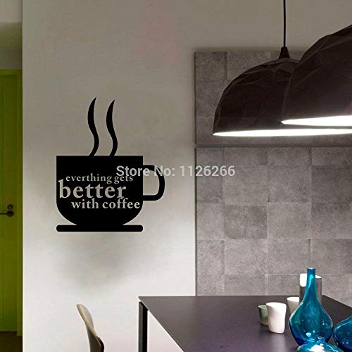 mlpnko Coffee Life Quote vinyl wall sticker quotes kitchen for Living Room Kitchen Coffee Shop Home Decoration Art Decals Waterproof Furniture PVC material-22x28cm