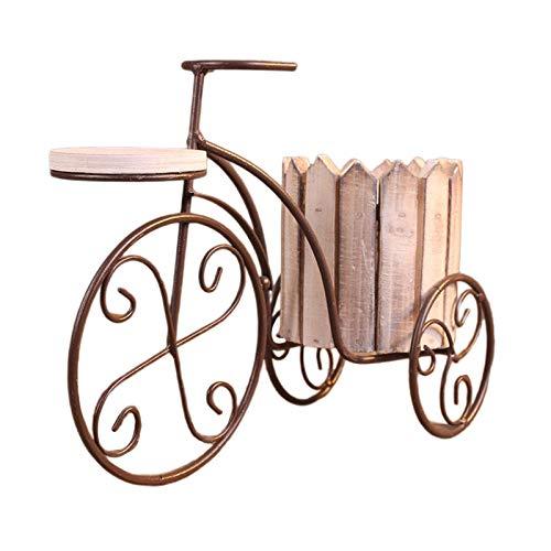 Baoblaze Creativo jardín Maceta de Hierro Europeo Bicicleta florero Estante Titular de la Planta Estante artesanías Sala de Estar Porche decoración Regalo de - Blanco