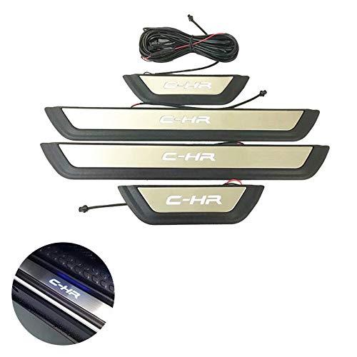 TOYOTA トヨタ C-HR ZYX 10/NGX50 全グレード対応 専用設計 ステンレス スカッフプレート ステップガード 内装 パーツ 4P 【LEDタイプ】