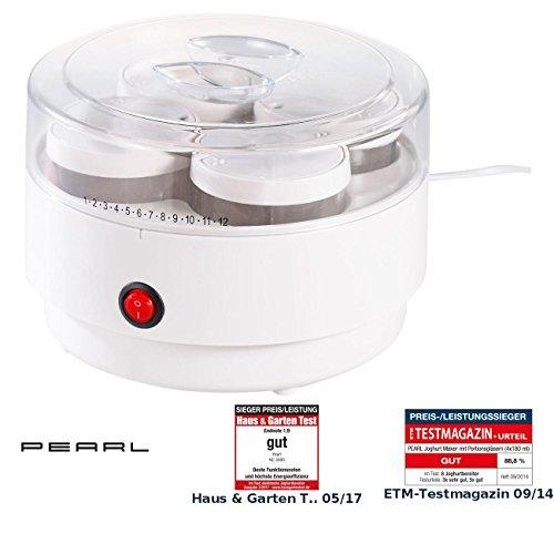 PEARL Joghurtmaschine: Joghurt-Maker mit 4 Portions-Gläsern je 150 ml, spülmaschinengeeignet (Jogurtmaschine)