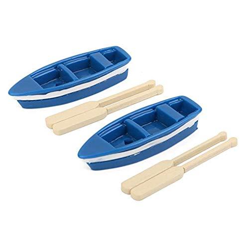 censhaorme 2pcs Kit de remos miniatura Hada del jardín azul barco Mini Artículos de decoración Jardinería Decoración