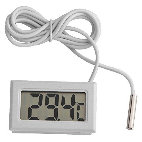 Tonysa Mini LED Digitaler Temperaturmesser,Digitales LCD Thermometer Aquarium/Geflügel/Reptil/Inkubator/Gewächshaus usw. mit LR44 Batterien/1,5 m langem Sensor/dauerhafter Temperaturgenauigkeit