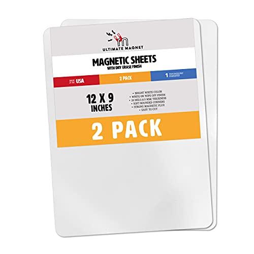Hojas magnéticas de borrado en seco, flexibles, de color blanco, 30,48 x 22,86 cm, para pizarras blancas, paquete de 2