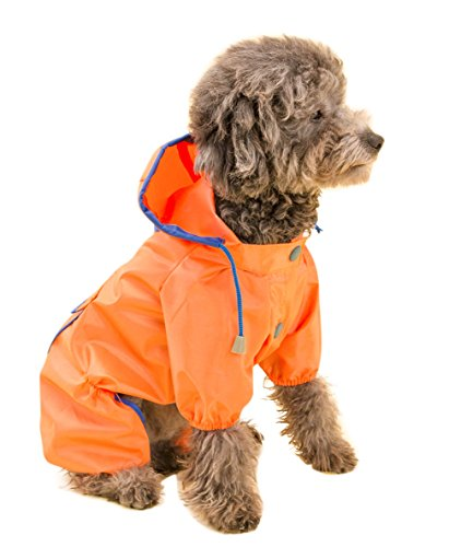Topsung Dog Raincoat Waterproof Puppy Jacket Pet Rainwear Clothes for Small Dogs/Cats Orange